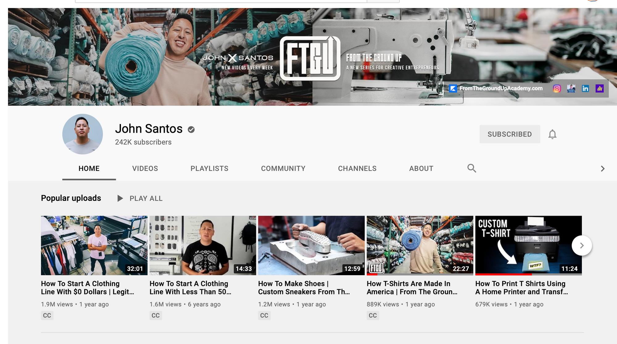 Screenshot of John Santos YouTube Home Page