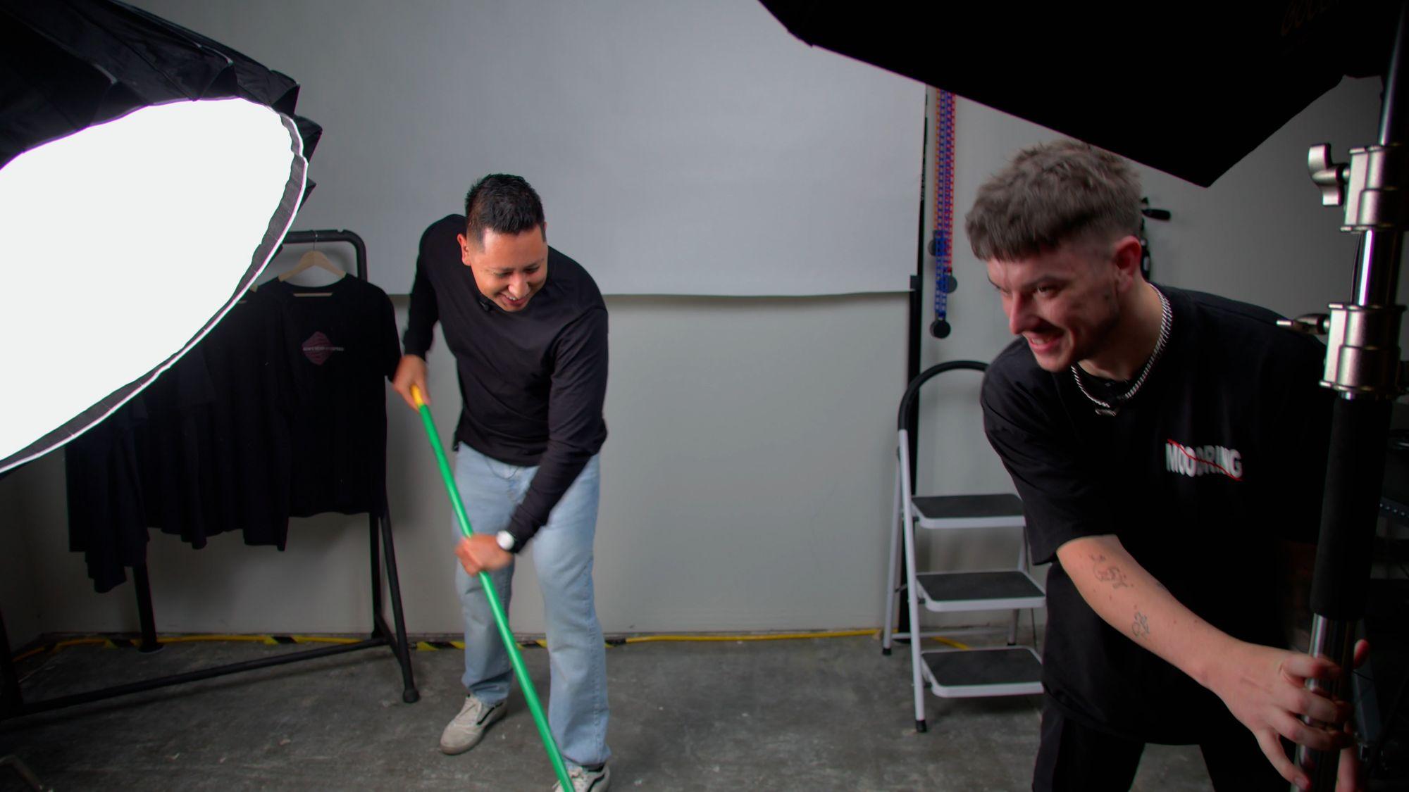 John Santos sweeping the set