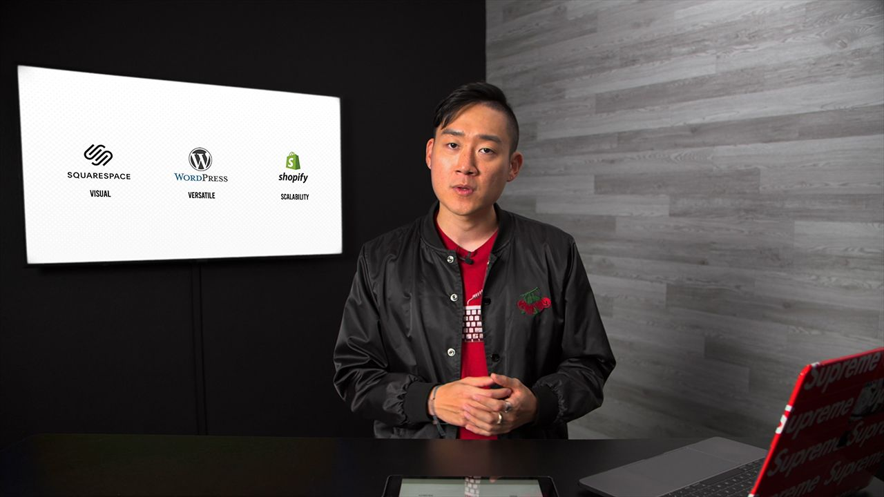 Ben Kang with TV Displaying options for eCommerce platforms