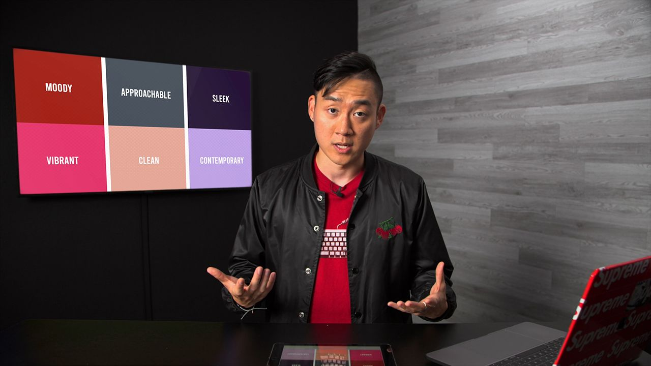 Image of Ben Kang with TV displaying color moods